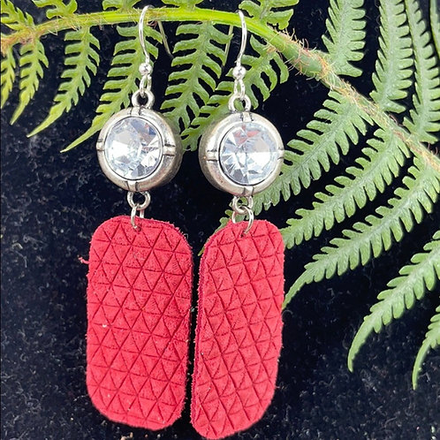 Red gem leather statement earrings