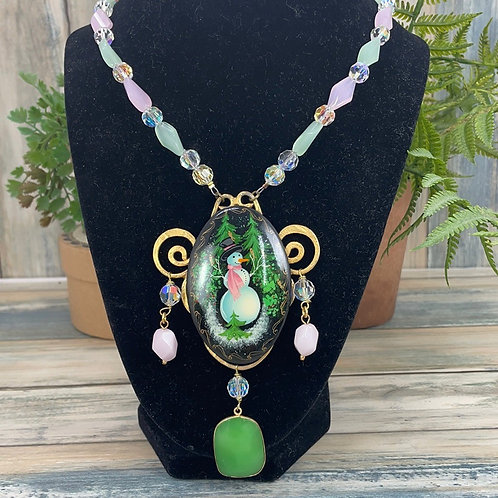 Green pink Hand painted snowman princess necklace