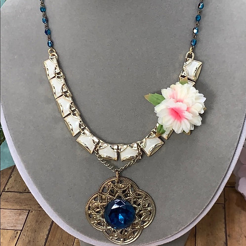 Blue She's a doll assemblage bead flower necklace