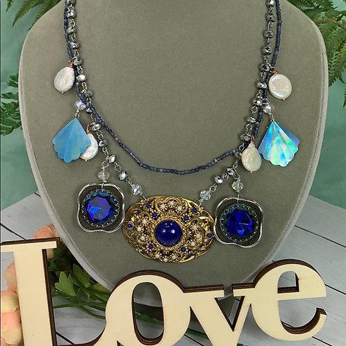 Elemental assemblage blue necklace