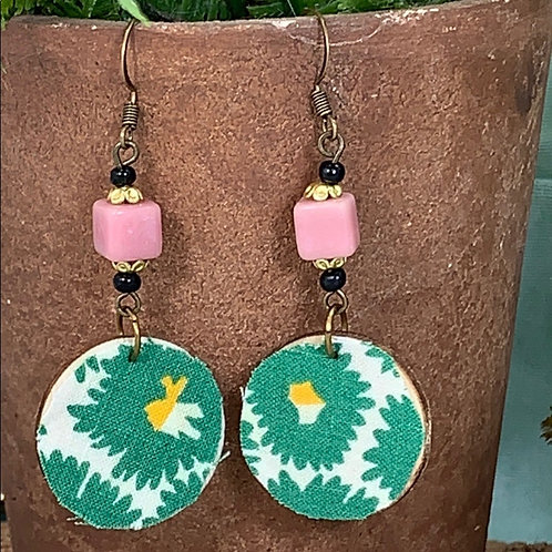 Green vintage fabric pink bead disc earrings