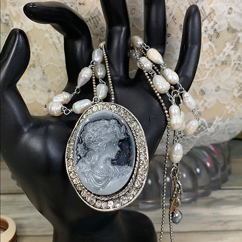 Miss pearl gray cameo 2 strand necklace