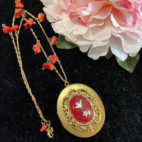 Red Goth vertebrae locket necklace