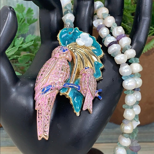 Pink Mama & baby bird pearl fluorite necklace