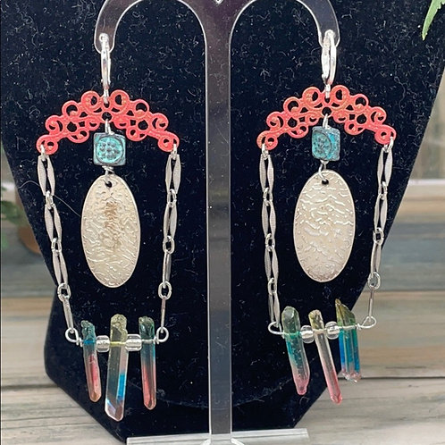 Coral teal Assemblage spike coral earrings