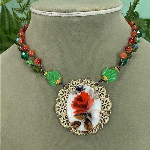 Red green Rose Garden Assemblage rosary bead necklace