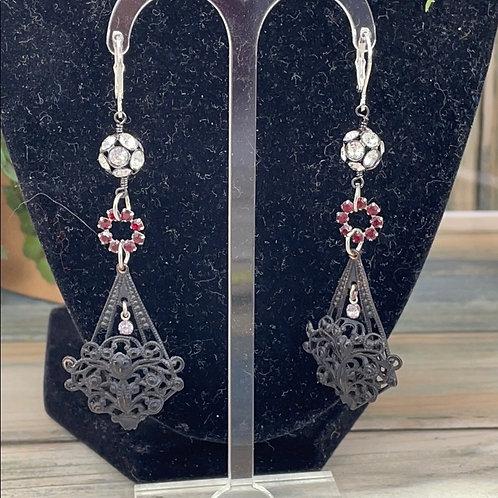 Red Vintage victorian filigree garnet earrings