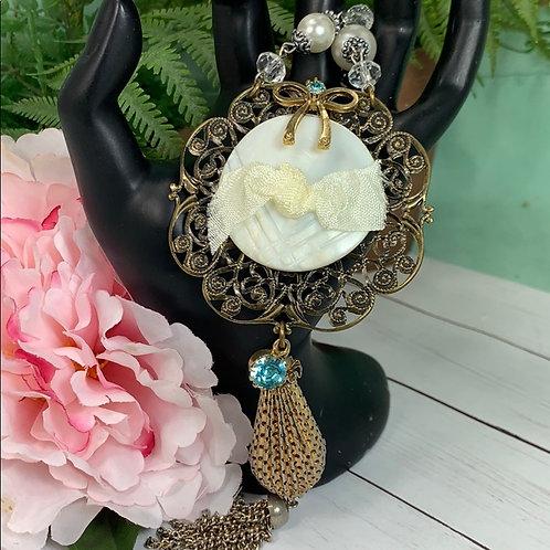 Teal Vintage Romantic shell button blue necklace