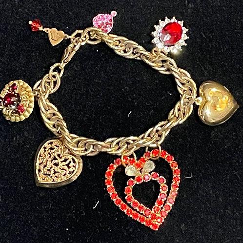 Red All My Heart vintage charm bracelet