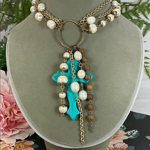 Teal Cowgirl Cross pearl turquoise necklace