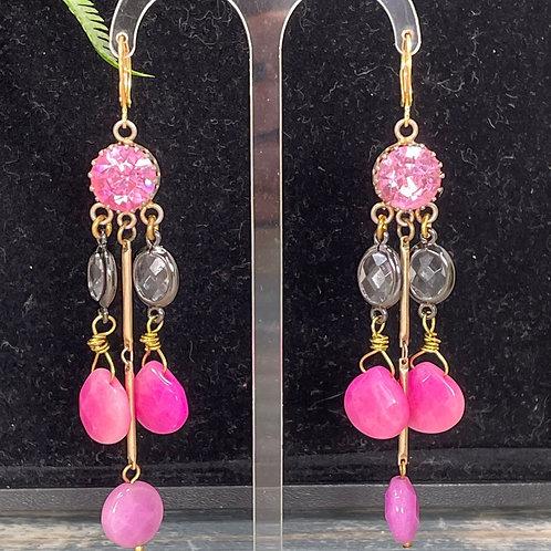 Rose quartz pink rhinestone earrings