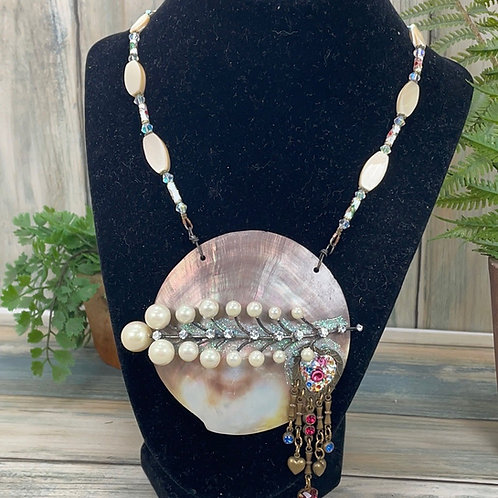 Seashell assemblage large shell necklace