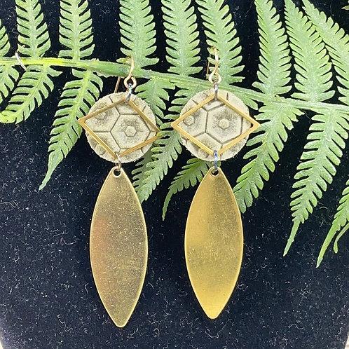 Sage green leather disc brass drop earrings