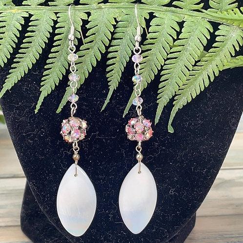Adorned Crown Pearl pink crystal earrings