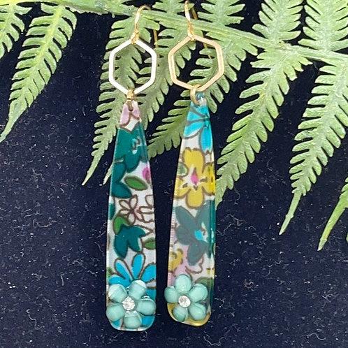 Green Trendy acrylic flower spike & hex earrings