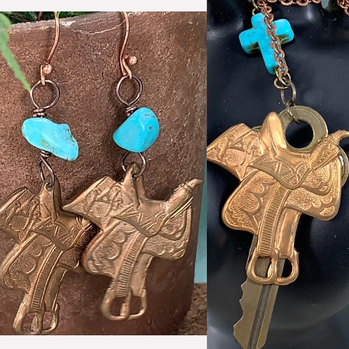 Teal Back in the Saddle turquoise earring necklace