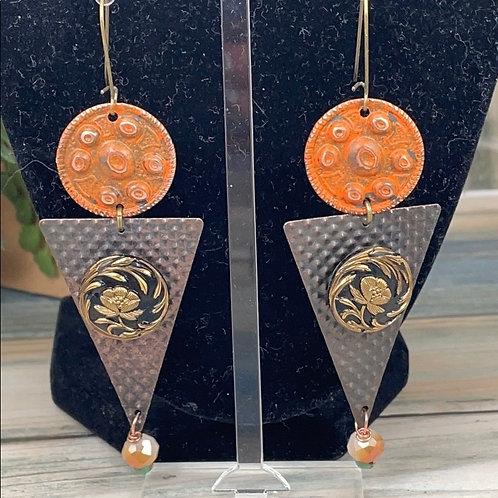 Orange Geometric glass buttons earrings