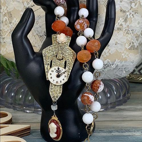 Orange Victorian time rhinestone carnelian necklace