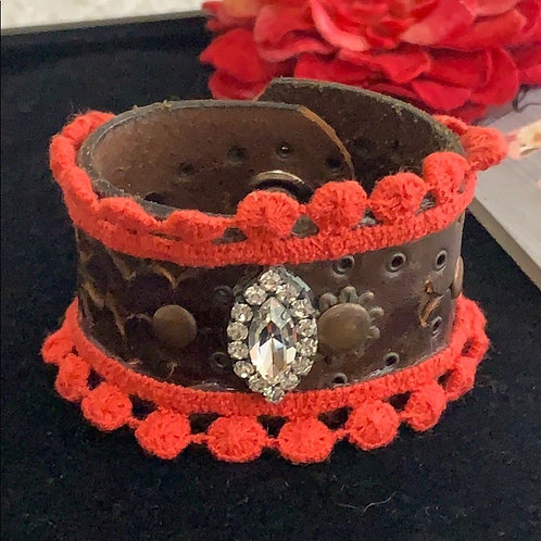 Coral Vintage leather coral & bling cuff