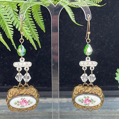 Green pink Vintage floral guilloche earrings