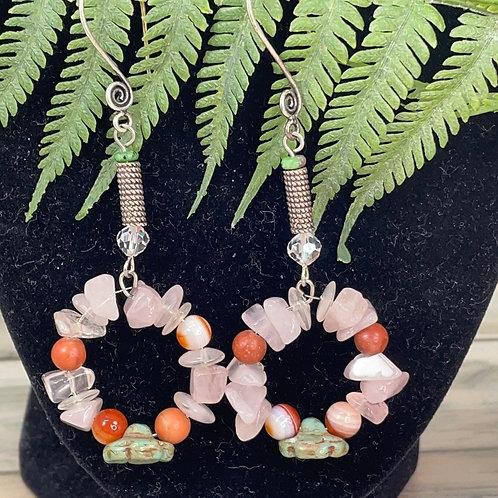 Adorned Crown Rose quartz Czech flower earrings