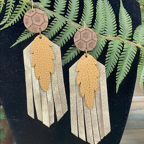 Tan Leaf leather statement earring fringe