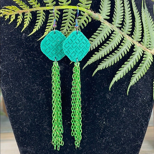 Green Chain & leather statement earrings