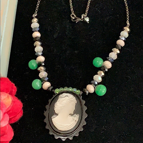 Green Vintage carved shell cameo green bead necklace