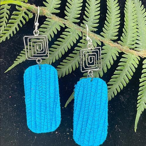 Teal Trendy leather statement swirl earrings