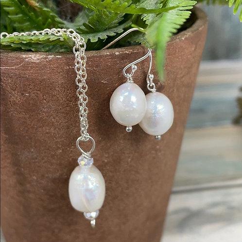Genuine pearl sterling silver heart set (2)