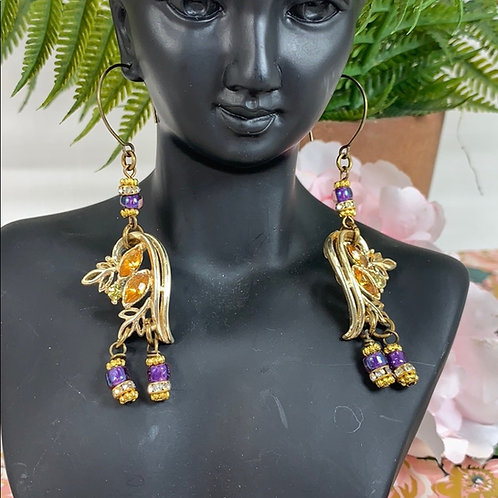Vintage reclaimed Purple & yellow earrings
