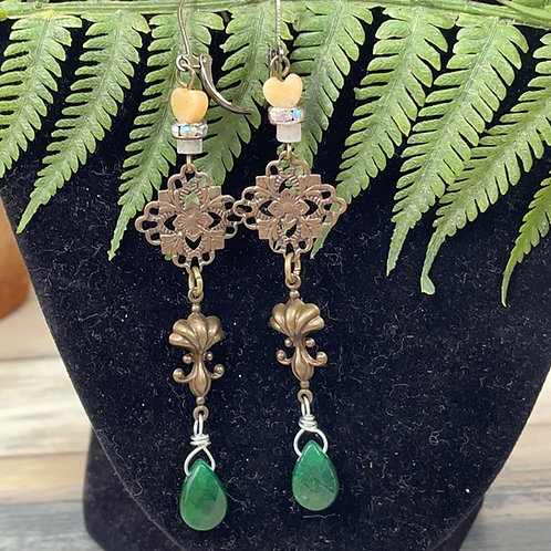 Adorned Crown assemblage green drop earrings
