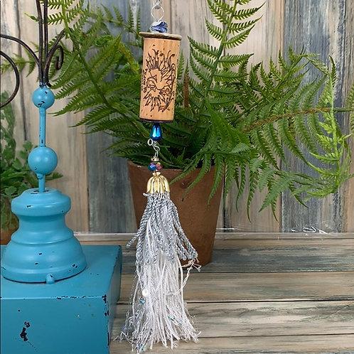 Blue silver assemblage Wine cork ornament