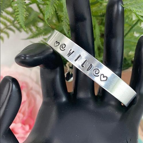 Wild hearts stamped cuff bracelet