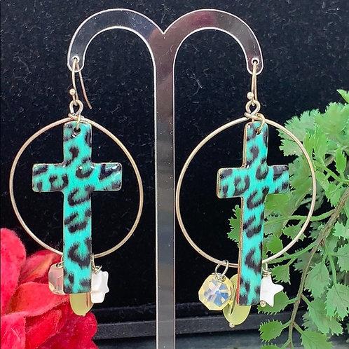 Teal Cheetah cross assemblage gem bead earrings