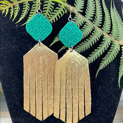 Green Trendy leather statement earrings green gold