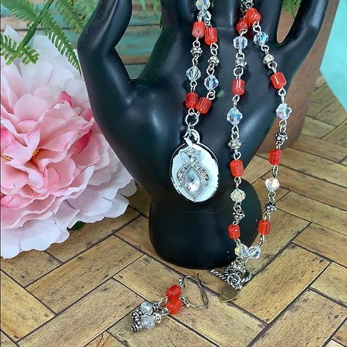 Red Crystal carnelian silver bead necklace & earrings