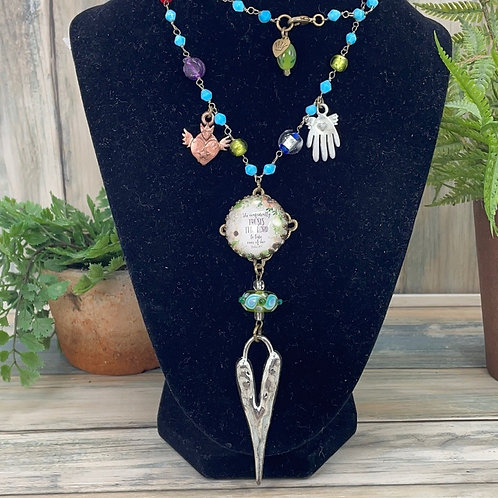 Teal She confidently trusts the Lord necklace
