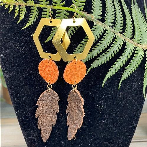 Orange Trendy leather statement earrings hex leaf