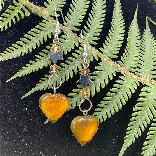 Yellow Dichroic glass heart & hematite Star Earrings