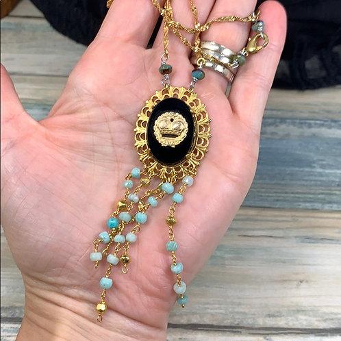 Teal Crowned in jet black assemblage necklace