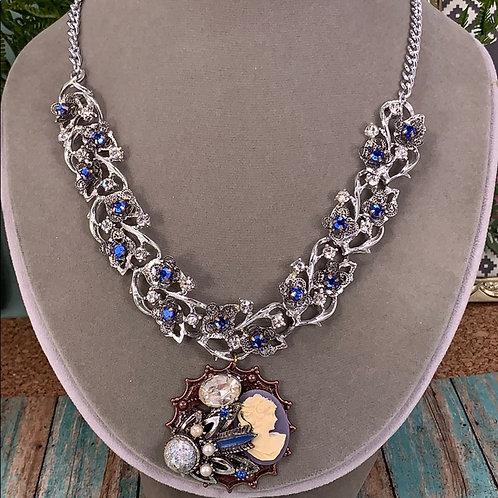 She's Something blue rhinestone necklace