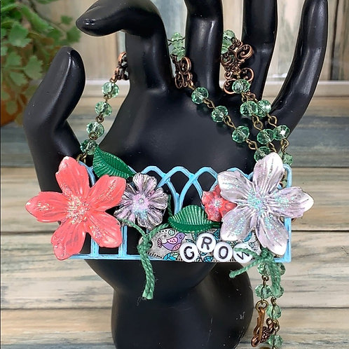 Multicolored GROW Fence floral collage garden necklace