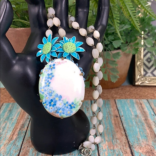Blue Forget me not flower rosary bead necklace
