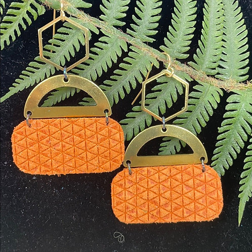 Orange Trendy leather & hex statement earrings