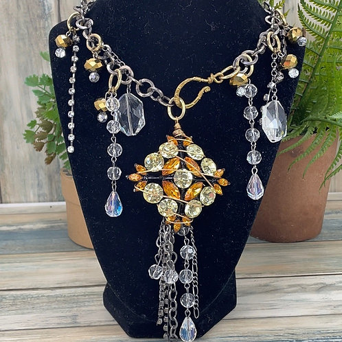 Yellow All that Bling Statement rhinestone necklace