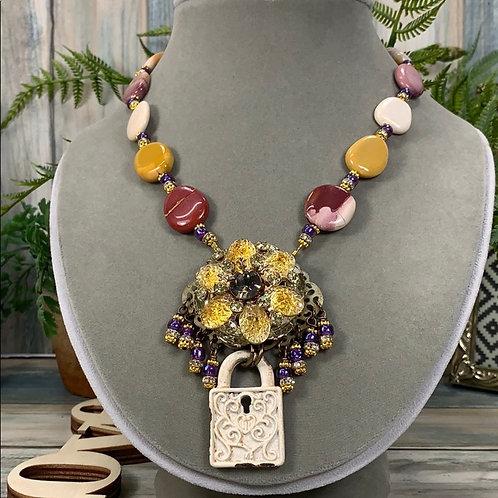 Yellow red Beautiful desert sunset rhinestone necklace