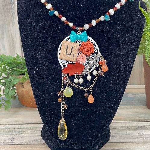 Coral U matter assemblage cluster necklace