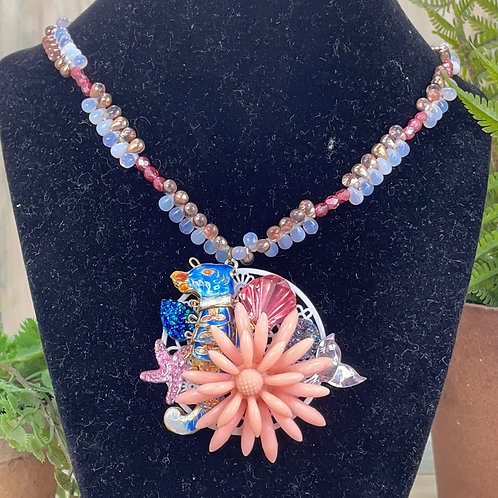 Adorned Crown assemblage sea creatures necklace