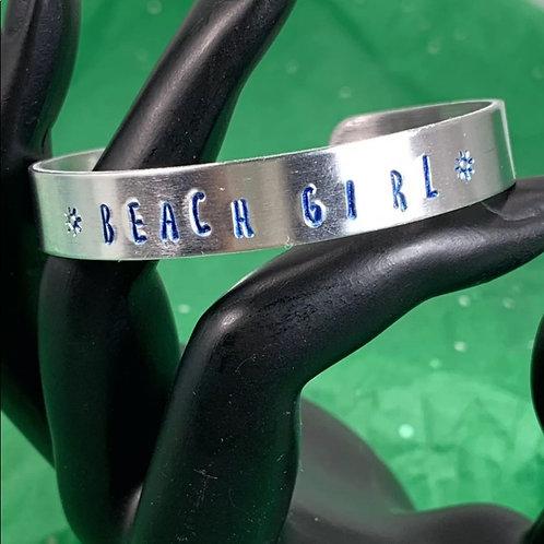 Beach Girl blue stamped cuff bracelet